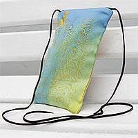 Silk sling bag, 'Day Tripper' - Blue-Green and Yellow Silk Sling Bag