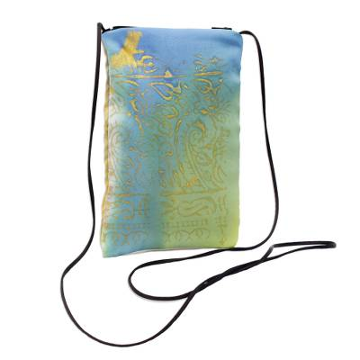 Blue-Green and Yellow Silk Sling Bag
