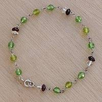 Quartz and garnet link bracelet, 'Delicate Garland' - Green Quartz Garnet and Sterling Silver Link Bracelet