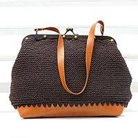 Cotton shoulder bag, 'Espresso Aura' - Crocheted Cotton Shoulder Bag in Espresso from Brazil