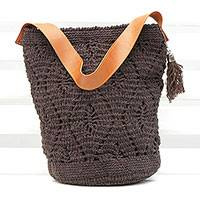 Cotton bucket bag, 'Diamond Crochet in Espresso' - Crocheted Cotton Bucket Bag in Espresso from Brazil
