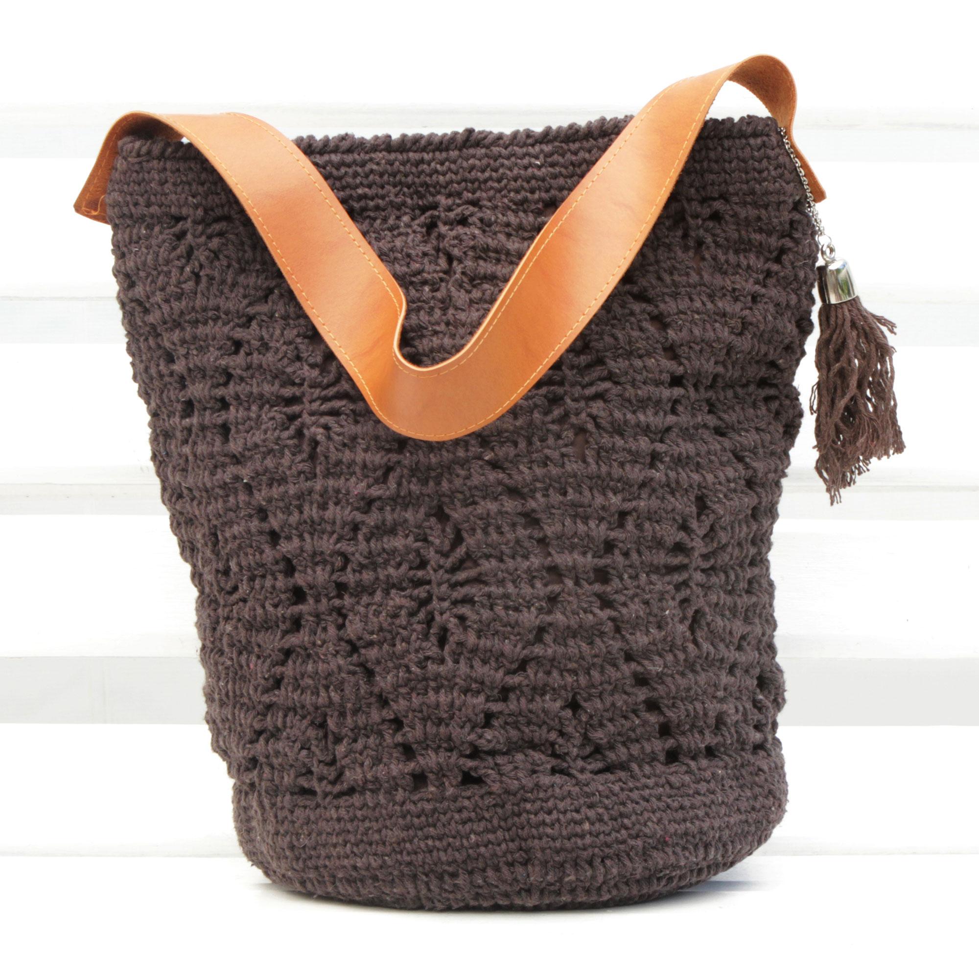 Crocheted Cotton Bucket Bag In Espresso From Brazil Diamond