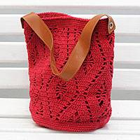 Cotton bucket bag, 'Diamond Crochet in Crimson' - Crocheted Cotton Bucket Bag in Crimson from Brazil