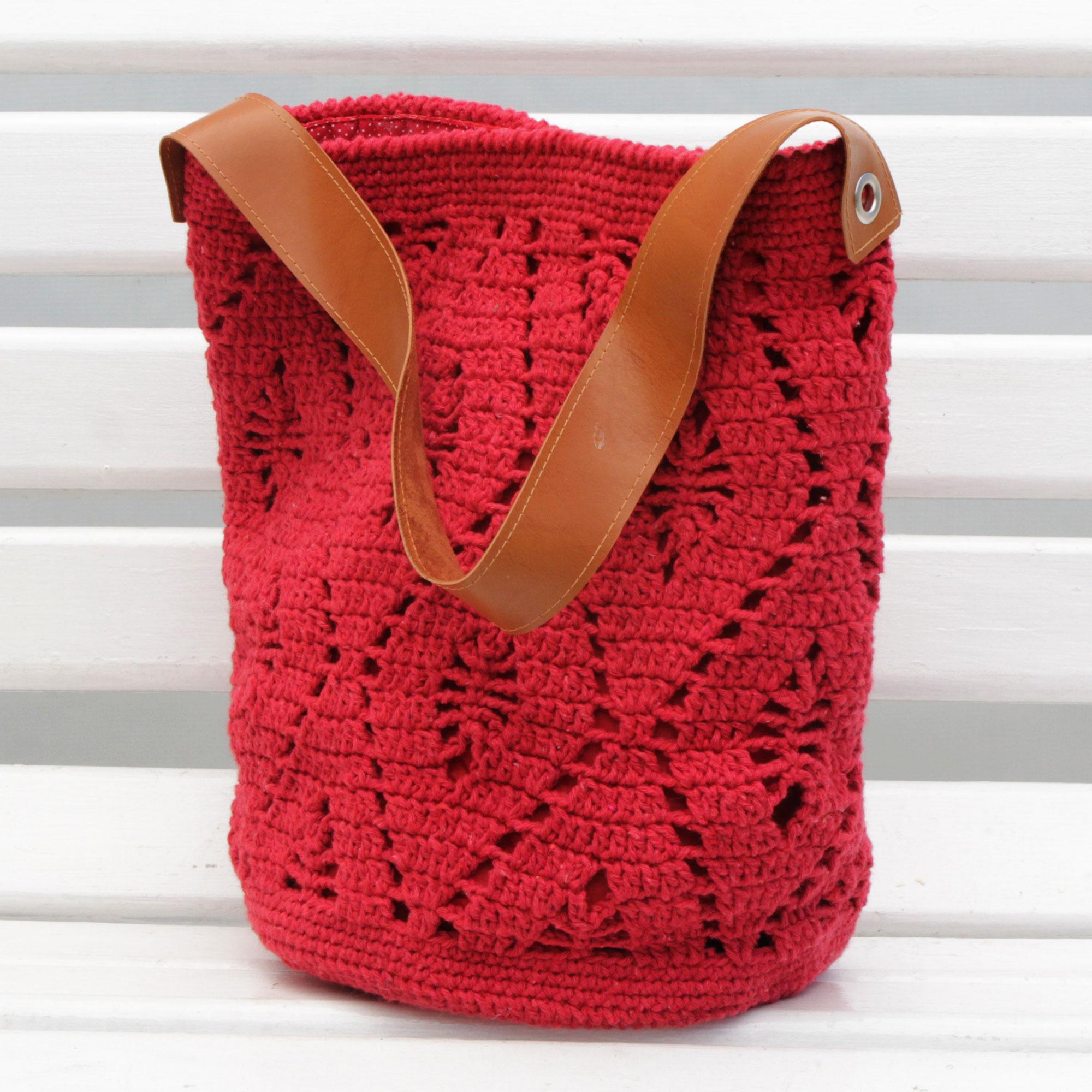 Crocheted Cotton Bucket Bag In Crimson From Brazil Diamond Crochet