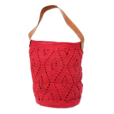 Novica Cotton bucket bag, Diamond Crochet in Ivory