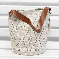 Cotton bucket bag, 'Diamond Crochet in Ivory' - Crocheted Cotton Bucket Bag in Ivory from Brazil
