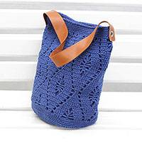 Cotton bucket bag, 'Diamond Crochet in Indigo' - Crocheted Cotton Bucket Bag in Indigo from Brazil