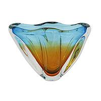Art glass vase, 'Celestial Embrace' - Hand Blown Amber and Blue Art Glass Centerpiece from Brazil