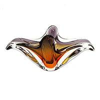 Art glass centerpiece, 'Sunset Bloom' (19 inch) - Hand Blown Murano Inspired Art Glass Centerpiece (19 inch)