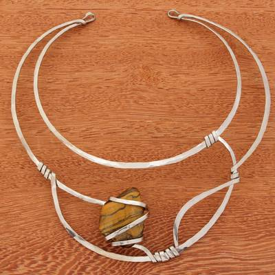 Tiger's eye collar necklace, 'Queen's Eye' - Tiger's Eye and Stainless Steel Collar Necklace
