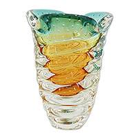 Art glass vase, 'Spiraling Twister' - Hand Blown Amber and Green Art Glass Vase from Brazil