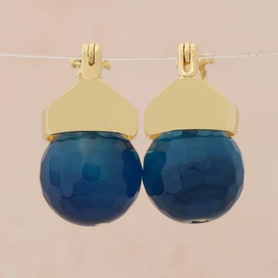 Gold plated agate drop earrings, Azure Acorn