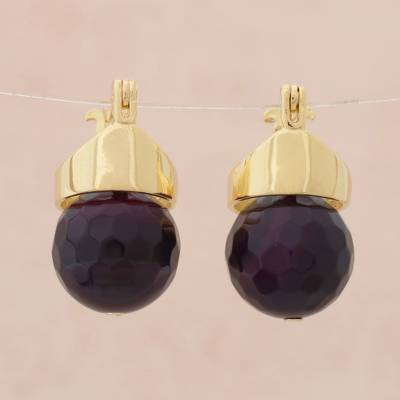 Gold plated agate drop earrings, 'Cherry Acorn' - Red Agate Drop Earrings Bathed in 18k Gold from Brazil