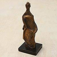 Resin sculpture, 'Curvy Elegance' - Gold-Tone Resin Abstract Sculpture of a Woman from Brazil