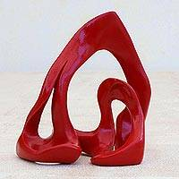 Resin sculpture, 'Red Arabesque' - Red Resin Abstract Sculpture Handcrafted in Brazil