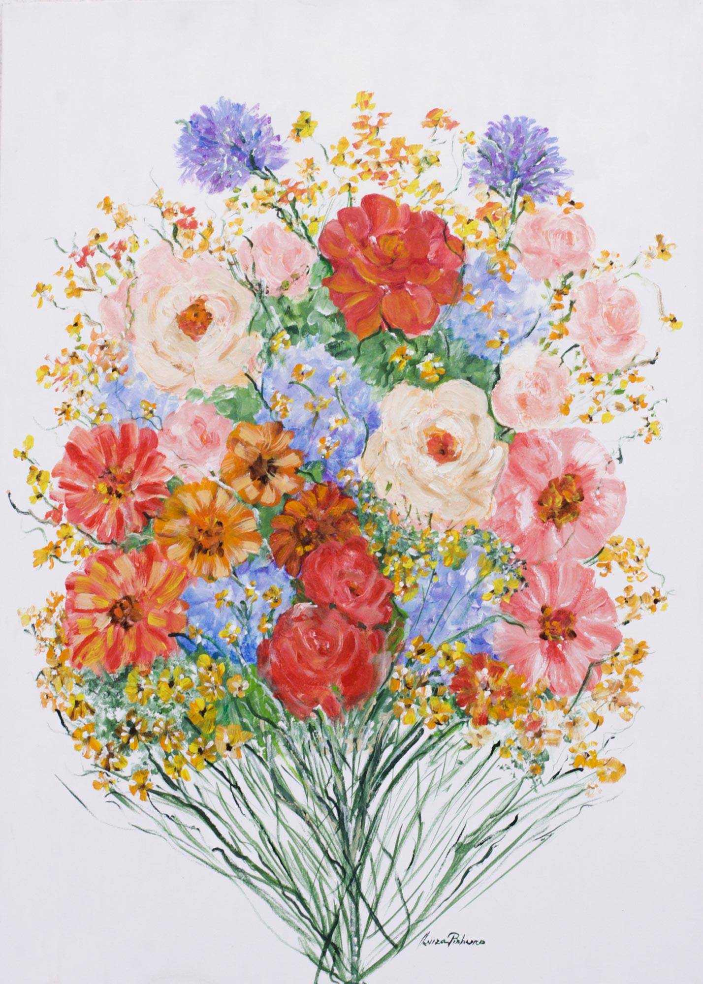 Signed original brazilian painting of a flower bouquet flowers for signed original brazilian painting of a flower bouquet flowers for you novica izmirmasajfo