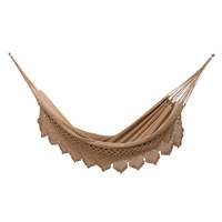Cotton hammock, 'Romantic Couple' (double) - Handwoven Double Cotton Hammock in Tan from Brazil