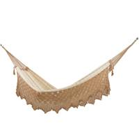 Cotton hammock, 'Solitary Pleasure' (single) - Handwoven Striped Single Cotton Hammock from Brazil