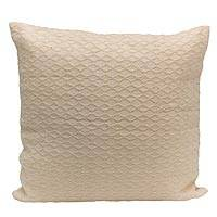 Cotton cushion cover, 'Diamond World' - Diamond Motif Cotton Cushion Cover in Ecru from Brazil