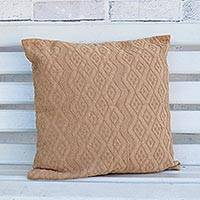 Cotton cushion cover, 'Beige Elegance' - Handwoven Cotton Cushion Cover in Beige from Brazil