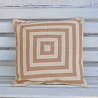 Cotton cushion cover, 'Mesmerizing Square' - Square Motif Cotton Cushion Cover Handwoven in Brazil