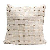 Cotton cushion cover, 'Homestead Weave' - Ivory-Colored Cotton Cushion Cover Handwoven in Brazil
