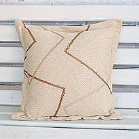 Cotton cushion cover, 'Brazilian Geometry' - Geometric Cotton Cushion Cover Handwoven in Brazil