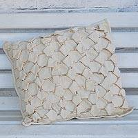 Cotton cushion cover, 'Luxurious Pattern' - Patterned Cotton Cushion Cover in Champagne from Brazil