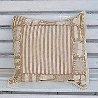 Cotton cushion cover, 'Striped Patchwork' - Striped Patchwork Cotton Cushion Cover from Brazil