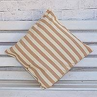 Cotton cushion cover, 'Country Stripes' - Alabaster and Taupe Striped Cotton Cushion Cover from Brazil