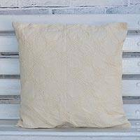 Cotton cushion cover, 'Iracema Squares' - Handcrafted Cotton Cushion Cover with Square Motifs