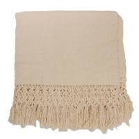 Cotton blend throw, 'Friendly Vanilla' - Cotton Blend Throw Blanket in Vanilla from Brazil