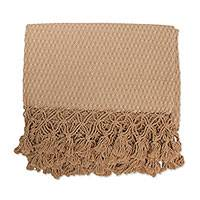 Cotton throw, 'Ubatuba Beauty' - Diamond Motif Patterned Cotton Throw Blanket from Brazil