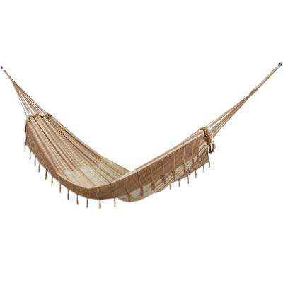 Cotton hammock, 'Casual Comfort' (single) - Handwoven Striped Single Cotton Hammock from Brazil
