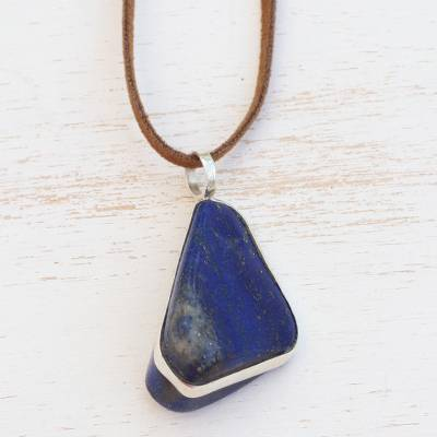 Lapis lazuli pendant necklace, 'Glory of the Amazon' - Handcrafted Lapis Lazuli Cord Pendant Necklace from Brazil