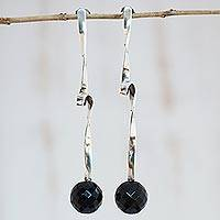 Agate drop earrings, 'Black Cloud' - Handcrafted Agate and Sterling Silver Drop Earrings