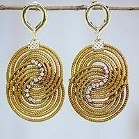 Gold plated golden grass dangle earrings, 'Fields of Hope' - Gold Plated Golden Grass Dangle Earrings with Rhinestones