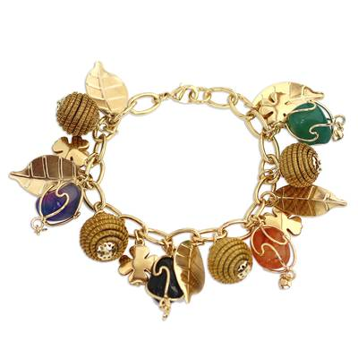 Gold Plated Charm Bracelet with Agates and Golden Grass