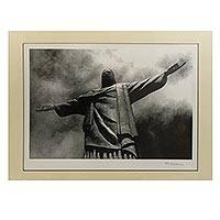 'Christ the Redeemer II' - Black and White Photograph of Christ the Redeemer