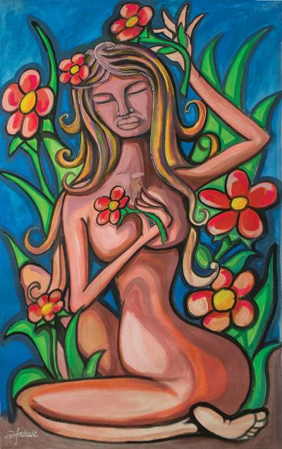 'Woman Cares for Her Garden' - Signed Expressionist Painting of a Nude Woman with Flowers