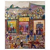 'Party in the Community' - Original Signed Painting of Rio de Janeiro Nightlife