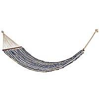 Cotton hammock, 'Indigo Beach' (single) - Indigo and Vanilla Striped Cotton Single Hammock from Brazil