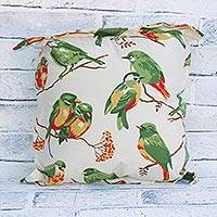 Cotton cushion cover, 'Bird Couples' - Bird Print Cotton Cushion Cover from Brazil