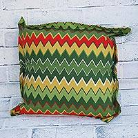 Cotton cushion cover, 'Colorful Zigzag' - Zigzag Motif Cotton Cushion Cover from Brazil