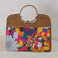 Palm leaf handbag, 'Psychedelic Flowers' - Multicolored Palm Leaf Handle Handbag from Brazil