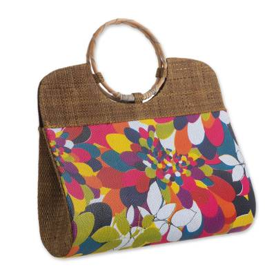 Multicolored Palm Leaf Handle Handbag from Brazil