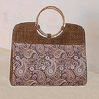Palm leaf handle handbag, 'World of Paisleys' - Paisley Motif Palm Leaf Handle Handbag from Brazil