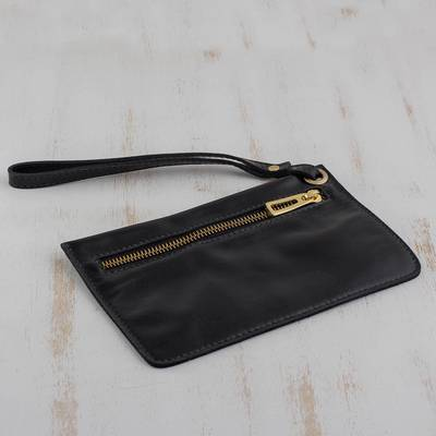 Leather wristlet, 'Dark Sophistication' - Handcrafted Black Leather Wristlet from Brazil