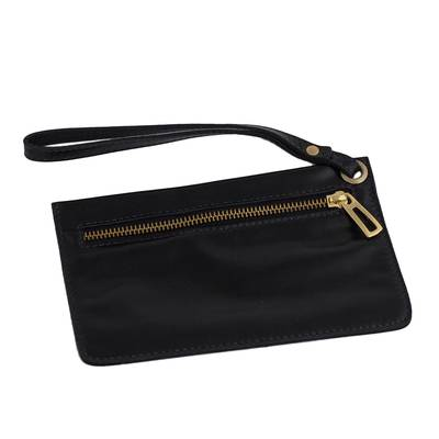 Handcrafted Black Leather Wristlet from Brazil
