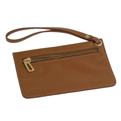Handcrafted Sepia Leather Wristlet from Brazil